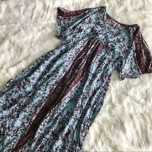 Free People Blue Brown Cold Shoulder Maxi Dress